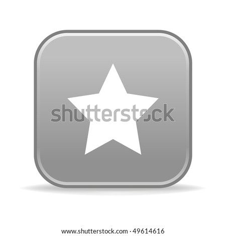 Matted gray rounded squares button with star and shadow on white
