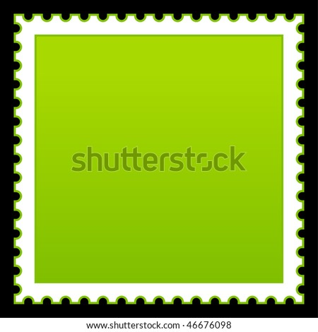 Matted green blank postage stamp on black background - stock vector