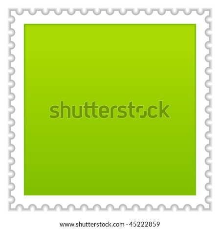 Matted green blank postage stamp with shadow on white background - stock vector