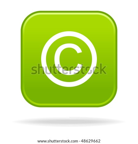 Matted green rounded squares button with copyright symbol and drop shadow on white - stock vector