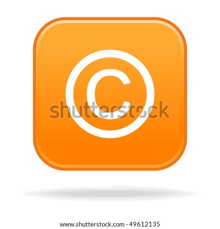 Matted orange rounded squares button with copyright and drop shadow on white