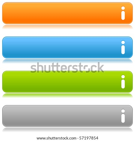 Matted satin color buttons with info symbol on a white background - stock vector