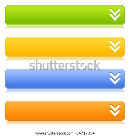 Matted satin colorful web 2.0 buttons with download sign and reflection on white background - stock vector