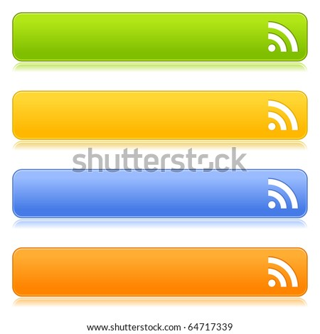 Matted satin colorful web 2.0 buttons with RSS sign and reflection on white background - stock vector