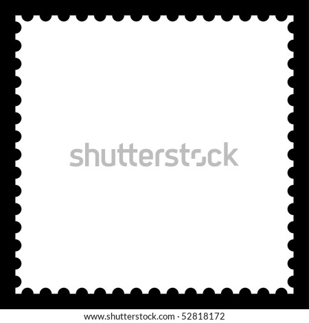 Matted white blank postage stamp with shadow on black - stock vector