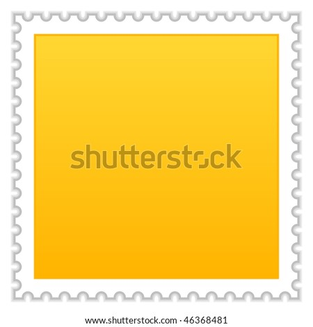 Matted yellow blank postage stamp with shadow on white background - stock vector
