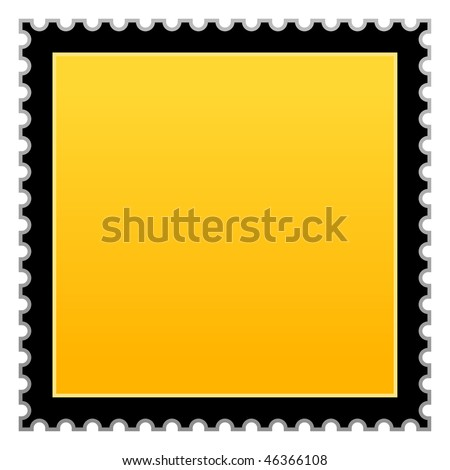 Matted yellow hazard warning blank postage stamp on white background - stock vector