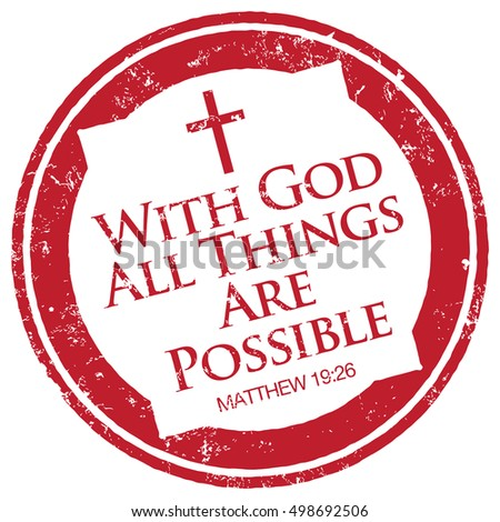 Matthew 19 26, Bible quote stamp