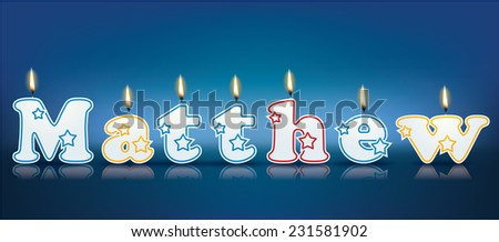 MATTHEW written with burning candles - vector illustration