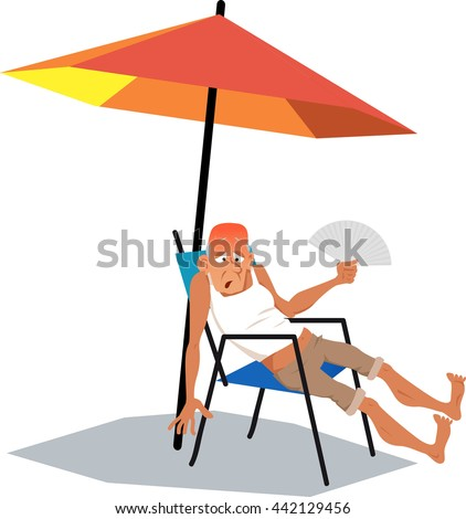 Mature man, exhausted from an intence heat, sitting under an umbrella in a very hot summer day with a hand fan, EPS 8 vector illustration, no transparencies