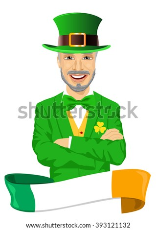 mature man with arms folded dressed as leprechaun celebrating Saint Patrick day