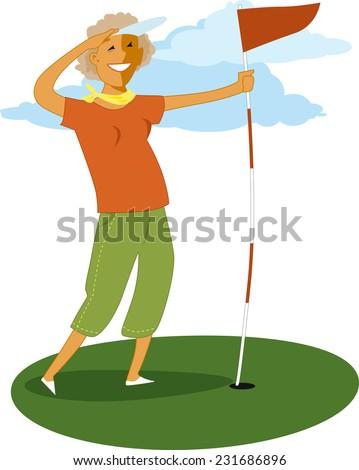 Mature woman holding a golf flag, vector illustration - stock vector