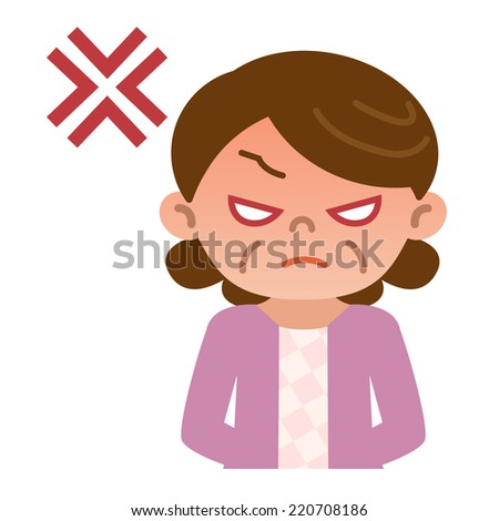 Mature women get angry - stock vector