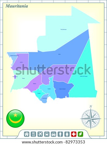 Mauritania Map with Flag Buttons and Assistance & Activates Icons Original Illustration - stock vector