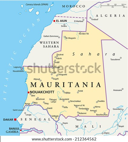 Mauritania Political Map with capital Nouakchott, national borders, most important cities, rivers and lakes. Illustration with labeling and scaling. - stock vector