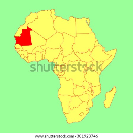 Mauritania vector map isolated on Africa map. Editable vector map of Africa. - stock vector