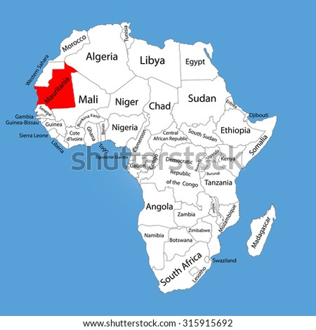 Mauritania vector map silhouette isolated on Africa map. Editable vector map of Africa. - stock vector