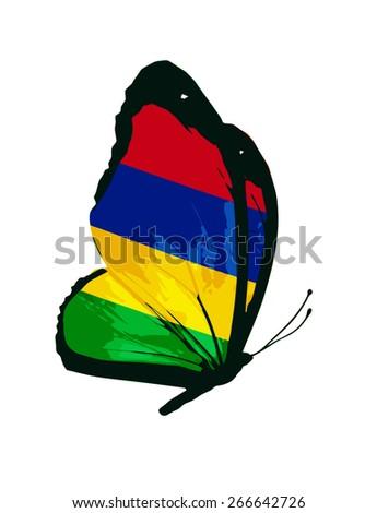 Mauritius flag butterfly - vector - stock vector