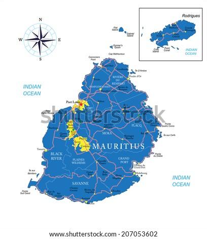 Mauritius Map Stock Vector Shutterstock - Mauritius map