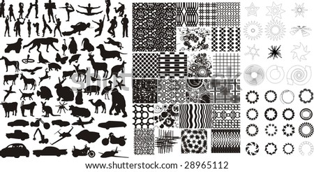maxi set icon people animal vehicle nature and texture - stock vector