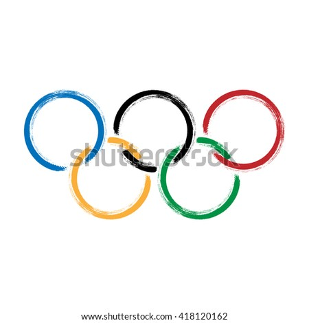 MAY 10, 2016: A vector illustration of brush painted olympic rings over white background. - stock vector