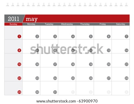 May 2011 Calendar - stock vector