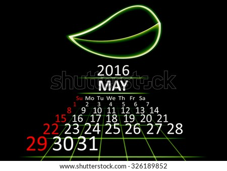May 2016 calendar dark technology 3d style abstract background. Vector Illustration. - stock vector