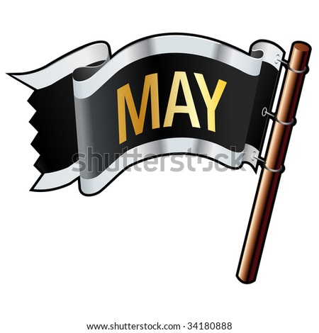 May calendar month icon on black, silver, and gold vector flag good for use on websites, in print, or on promotional materials