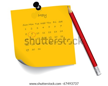 May calendar on notepaper - stock vector