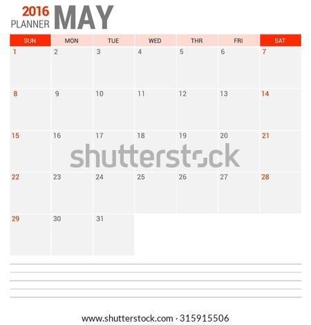 May Calendar Planner 2016 Vector Design Template. Week Starts Sunday. vector illustration - stock vector