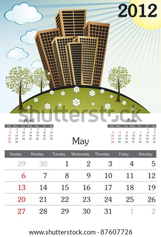 May. 2012 Calendar. Souvenir fonts used. A3 - stock vector
