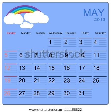 May 2013 calendar, vector illustration - stock vector