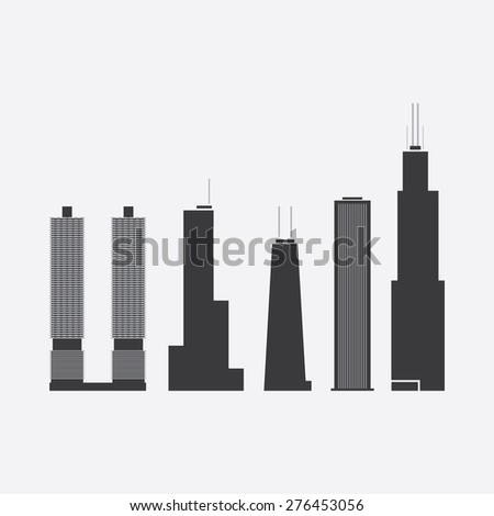 May 08, 2015: Collection of Icons of Five Famous Skyscrapers: Marina City, Trump International Hotel & Tower, John Hancock Tower, Aon Center, Willis Tower - For Editorial Use Only - stock vector