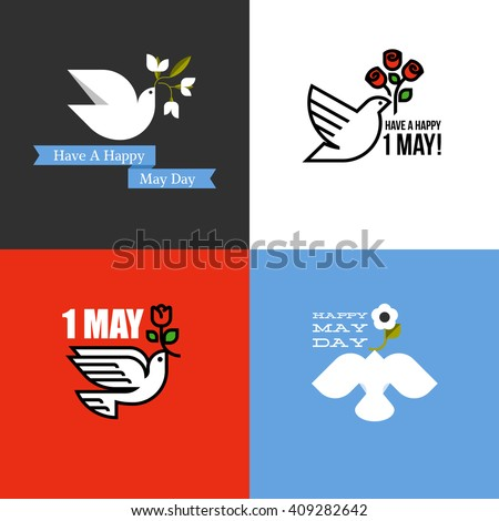May Day holiday cards set with dove and flowers - stock vector