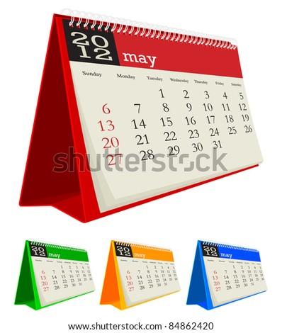 may 2012 desk calendar - stock vector