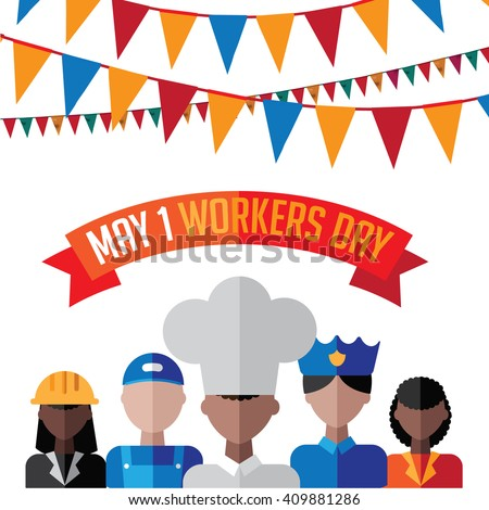 May first workers day flat design EPS 10 vector  - stock vector