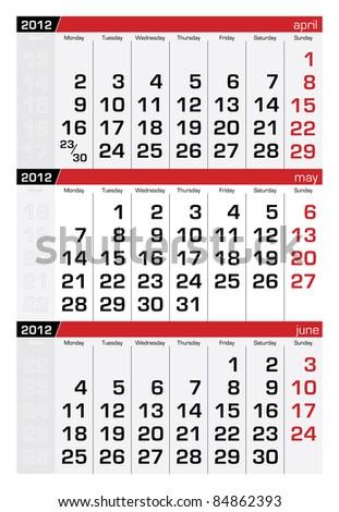 May 2012 Three-Month Calendar - stock vector