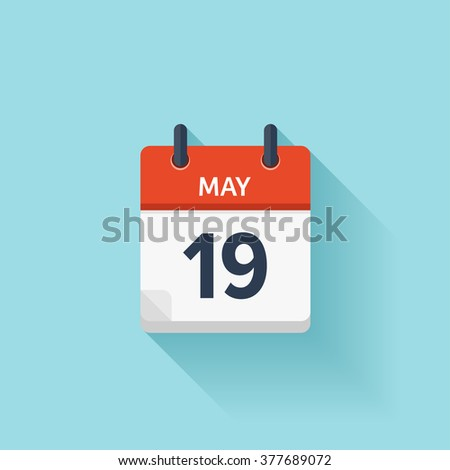 May 19 . Vector flat daily calendar icon. Date and time, day, month. Holiday. - stock vector
