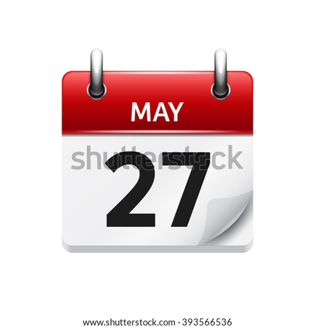 May 27 . Vector flat daily calendar icon. Date and time, day, month. Holiday. - stock vector
