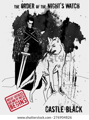 May 11, 2015: Vector illustration of the knight of the Order of the Night's Watch with dire wolf, a military order protecting the realm of men in TV show Game of Thrones - stock vector