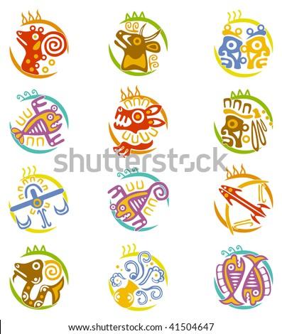 Maya art stylized zodiac signs - stock vector