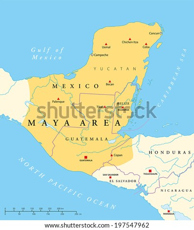 Maya High Culture Area Map - Maya civilization in Mesoamerica. Political map with capitals, national borders, important ancient cities, rivers and lakes. Vector with English labeling and scaling. - stock vector