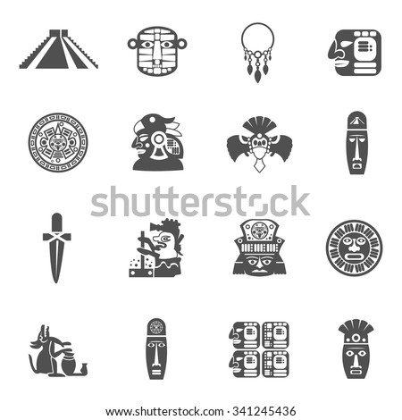 Maya icons black set with traditional mexican indian culture symbols isolated vector illustration - stock vector