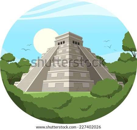 Maya Pyramid Old Mexican Stone Ruin, vector illustration cartoon. - stock vector