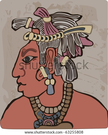 Maya tribal chief - stock vector