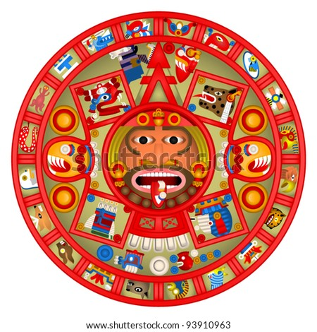 Mayan Calendar Colour Illustration
