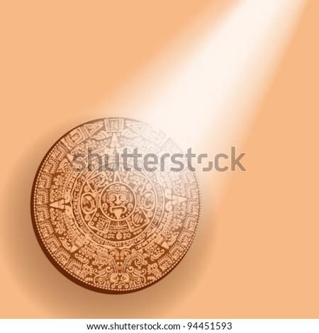 Mayan calendar lit sunshine - stock vector