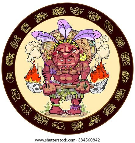 mayan calendar. Maya. Zodiac. - stock vector