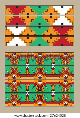 Mayan pattern vector set - stock vector