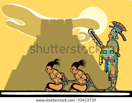 Mayan prisoners being guarded before being sacrificed. - stock vector